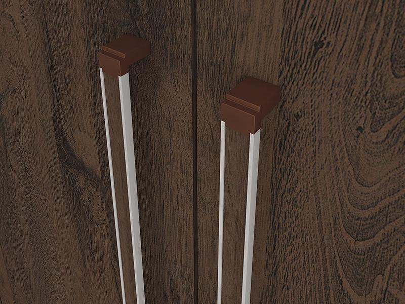 Puxadores em alumínio com ponteiras cobre e detalhe na cor do produto